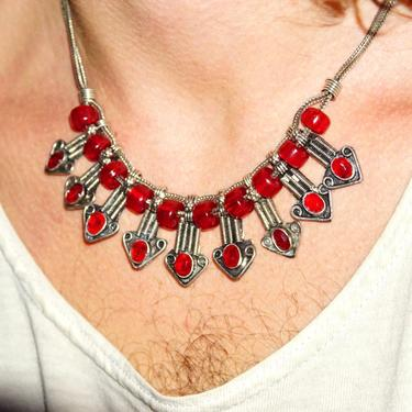 """Vintage Jeweled Silver Bib Choker Necklace, Ornate Silver Arrow Pendant With Red Gems & Beads, Two-Strand Foxtail Chain, 18"""" Long by shopGoodsVintage"""