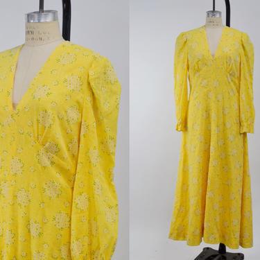 Vintage 1970s Pale Yellow Floral Prairie Maxi Dress, 70s Prairie Style Dress, Cotton Gauze Dress, 70s does 30s, Bohemian Hippie, Size Large by MobyDickVintage