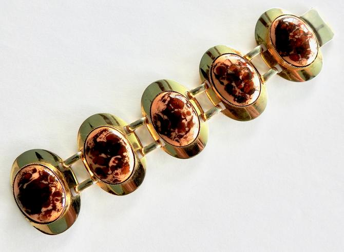 Wide Modernist Porcelain Gold Tone Bracelet by LegendaryBeast