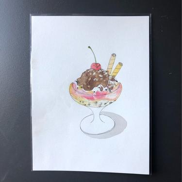 Ice Cream Sundae Original Watercolor Painting