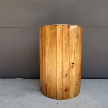Round Rustic Wood End Table Plant Stand Side Table Reclaimed by FifteenDegree