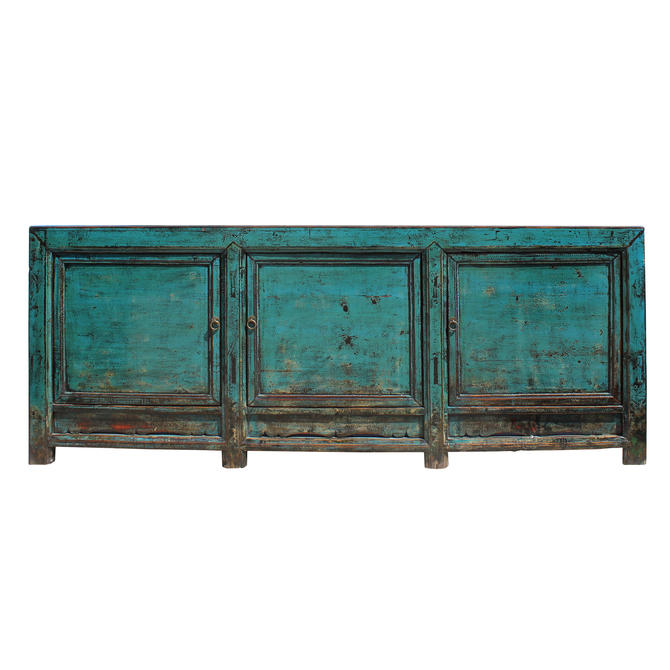 Distressed Dark Teal Blue Finish High Credenza Console Buffet Table cs5196E by GoldenLotusAntiques