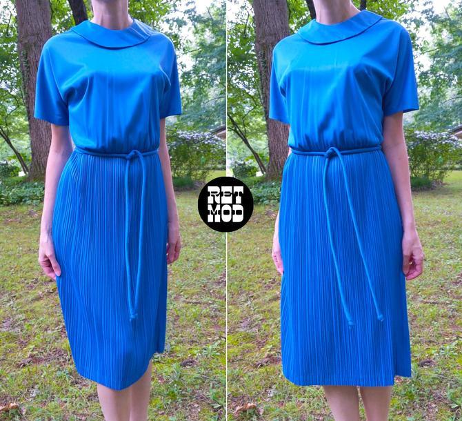 Super Comfy & Chic Vintage 50s 60s Blue Nylon Traveler Dress by RETMOD