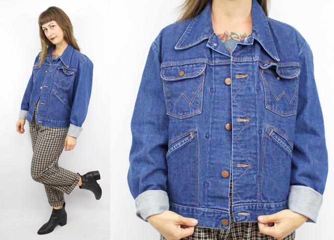 59ae41a01 Vintage 70's Blue Denim WRANGLER Jacket / 1970's Jean Jacket / Women's Size  Small / Medium by RubyThreadsVintage
