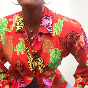 Vintage 1980s 1990s Y2K Escada Tiger Print Blouse Silk Graphic Neon Long Sleeve Button Front Shirt Small 34 Keepers Vintage by KeepersVintage