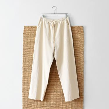 vintage cotton easy pants, high waist drawstring trousers, size L by ImprovGoods