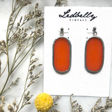 Orange Translucent Stained Glass Oval Earrings | Stained Glass Earrings | Translucent Earrings | Oval Earrings | Statement Earrings by LedbellyVintage