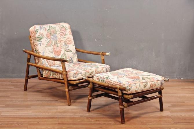 Ficks Reed Mid Century Rattan Lounge Chair & Ottoman