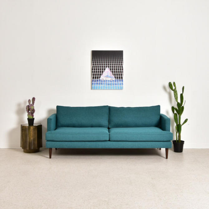 Tabatha Sofa in Rich Teal Blue Tweed