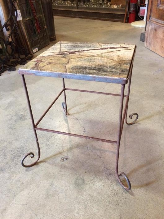 Steel and Marble Occasional Table H15.5 x W12.5 x D12.5