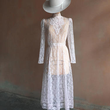 Vintage 70s Pale Pastel Pink Lace Dress with Back Buttons by LucileVintage