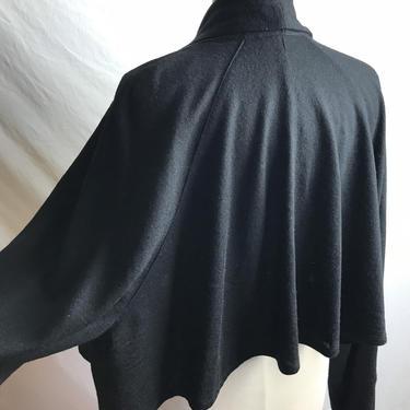 Oversized bolero coat black shell sweater cardigan ~ minimalist boho knit~ gathered flowing cropped swing coat~ woolen jacket~ size S/M by HattiesVintagePDX