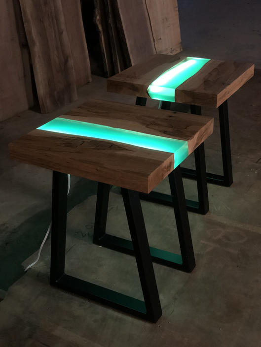 Resin River End Table with L.E.D. Lights by KirkpatrickDesigns
