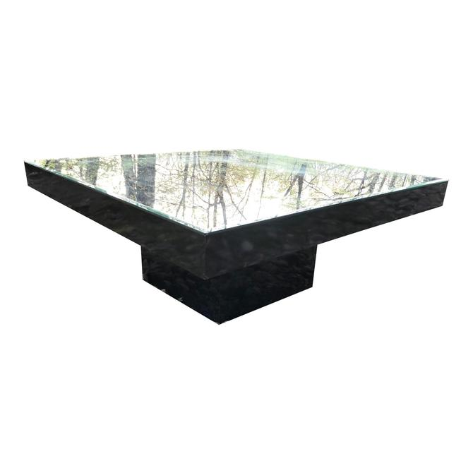 Black Lacquer Coffee Table Pedestal Mirrored Top