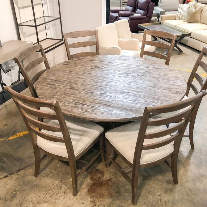 Round Wood Dining Table w/ 6 Chairs