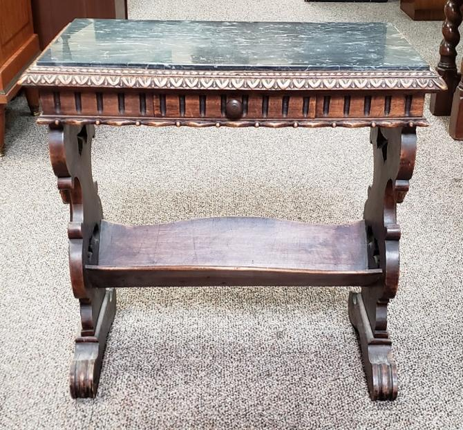 Item #DR1 Carved English Oak & Marble Top Book Table c.1940