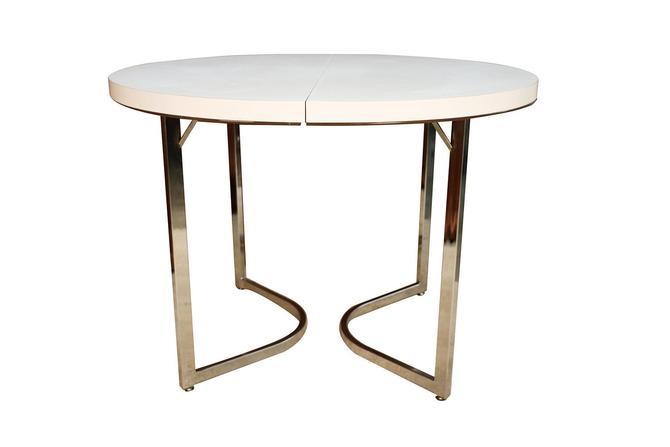 Mid Century Retro Laminate Circular Chrome Base Table by Marykaysfurniture