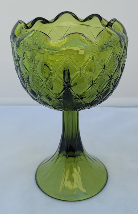 Vintage Olive Avocado Green Indiana Glass Duette Pattern Decorative Goblet