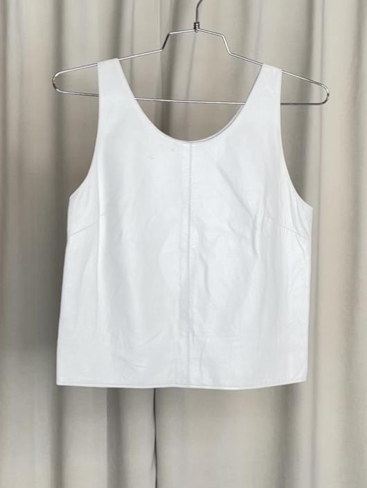 Vintage White Leather Tank Top
