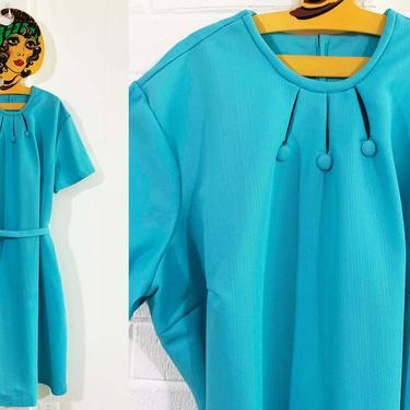 Vintage Sky Blue Shift Dress 60s 1960s Teal Turquoise Mod Twiggy Short Sleeve Plus Size 4XL 3X XXXL XXXXL Curvy Volup by CheckEngineVintage