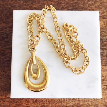 Vintage Gold Monet Pendant Chain Necklace by TheDistilleryVintage