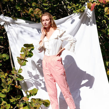 80s Pink High Waisted Straight Leg Pants Vintage Pastel Deadstock Trousers by AppleBranchesVintage