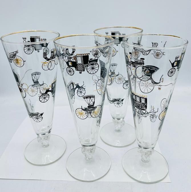 Vintage set of (4) Barware Pilsner Glasses Beer Gold Rim Antique Horse Drawn Buggy Carriage- Libbey by JoAnntiques