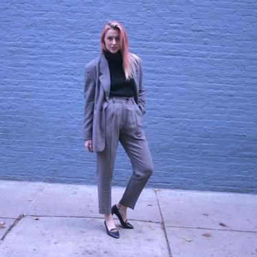 Rare! Karl Lagerfeld Grey Pant Suit | KL Womens 80s Blazer | Size 12 | Medium - Large | Grey High Waist Trousers | Work wear| Houndstooth by HamletsVintage