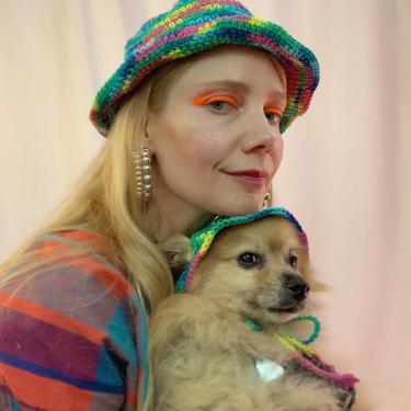 Rainbow crochet bucket hat by shopjournal
