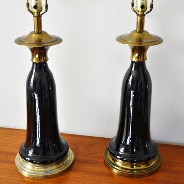 Vintage Mid-Century Brass and Black Ceramic Tassel Form Table Lamps by Stiffel - Pair by SourcedModern