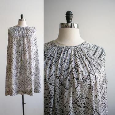 1970s Cotton Tent Dress / Vintage Flower Power Dress / Vintage Trapeze Dress XXL / Handmade Vintage Dress / Plus Sized Vintage / XXL Vintage by milkandice