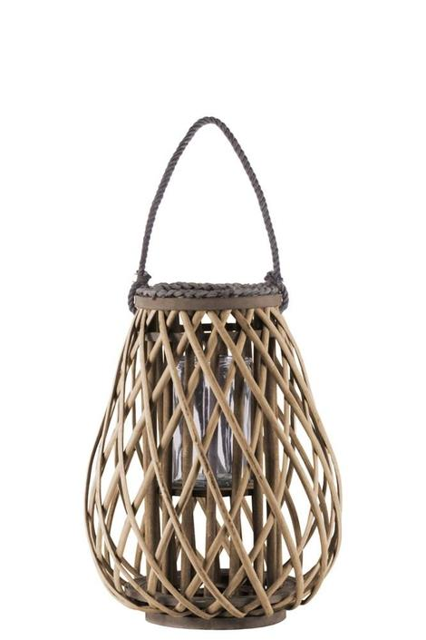 TAUPE BAMBOO ROUND BELLIED LANTERN WITH BRAIDED ROPE LIP AND HANDLE