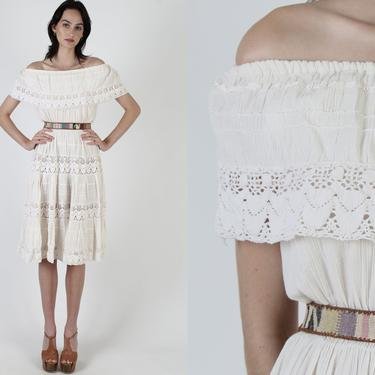Off The Shoulder Ivory Mexican Dress / Crinkle Cotton Crochet Dress / Vintage 70s Ethnic Wedding Mexico Gauze Party Midi Dress by americanarchive