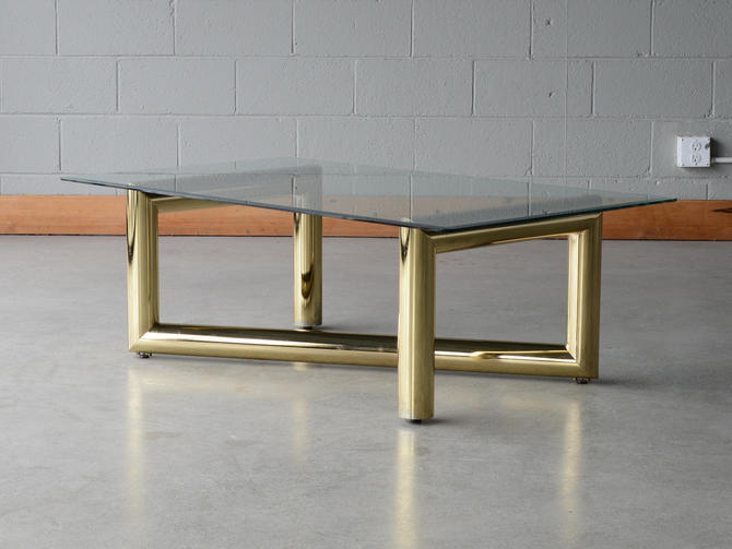 Vintage Modernist Tubular Brass and Glass Coffee Table by MadsenModern