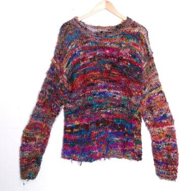 Vintage Hand Spun Wild Rainbow Knit Silk Pullover Sweater Size Med/Large by 40KorLess