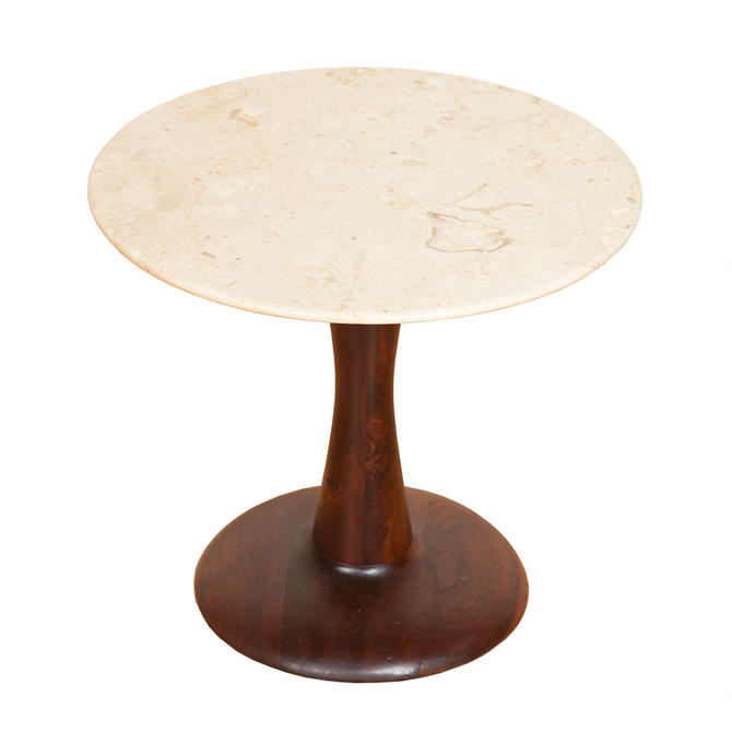 Round Marble Top Tulip Accent Table w/ Walnut Base