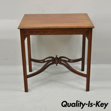 Vtg Mahogany Chinese Chippendale Fretwork Accent Lamp Side Table Elite Furniture