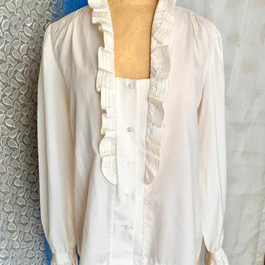 Vintage Blouse, Ruffle Front, Tiny Tucks, Pleats, Plus Size, Curvy, XXL, 70s 80s Top by GabAboutVintage