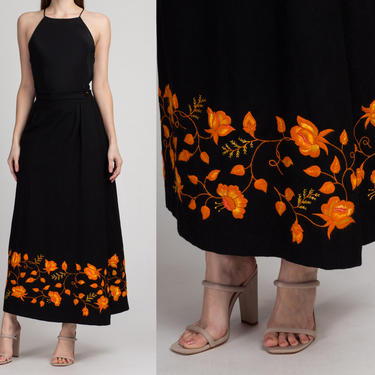 70s Floral Embroidered Wool Maxi Wrap Skirt - Small | Vintage Black Orange Boho High Waist A Line Long Skirt by FlyingAppleVintage