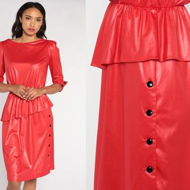 80s Party Dress Shiny Red Dress Midi Puff Sleeve Dress Secretary Peplum Dress High Waisted 1980s Vintage Wiggle Medium by ShopExile