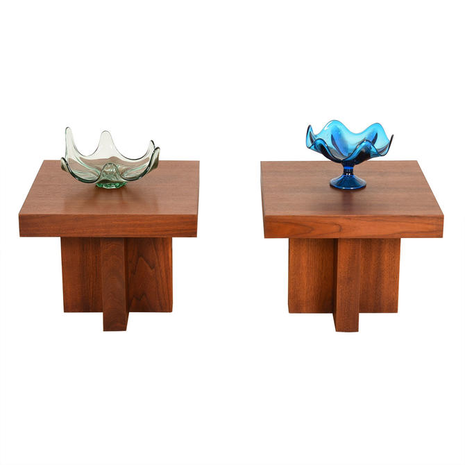 Pair Mid Century Modern Walnut Thick Accent Tables w\/ X-Bases