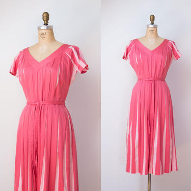 1940s Claire McCardell Dress / 40s Pink Striped Day Dress by FemaleHysteria