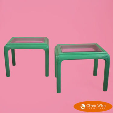 Pair of Lacquered Pencil Reed Side Tables