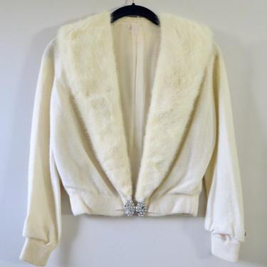 Vintage Cashmere Cardigan - Mink Collar - 100% Cashmere Rhinestones - Rare Cream Color - Full Fashioned 1950s - Pringle of Scotland - XS by SoulfulVintage