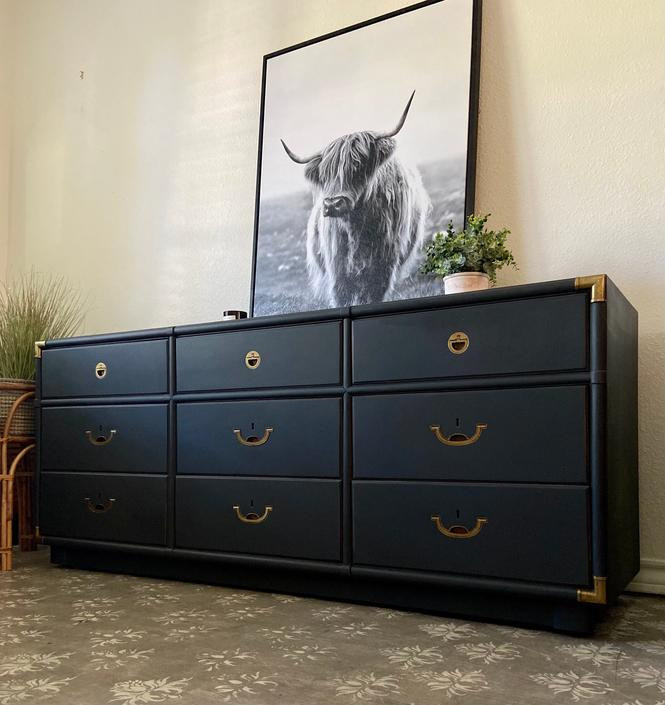 Vintage Mid Century Drexel Accolade Campaign Dresser Credenza *Local Pick Up Only by BluePoppyFurniture