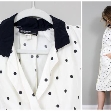 1980's Polka Dot Power ShirtDress with Pockets in Women's Small or Medium by KittenSurprise