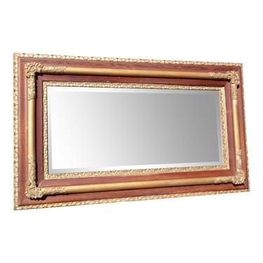 Large Antique Victorian Oak & Gilt Gesso Mantle Mirror Deep Framed Wall Mirror