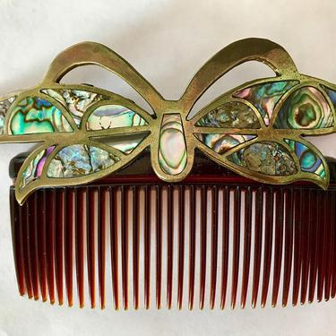 Vintage Mexican Abalone Butterfly Hair Comb, Mid-Century Hair Comb, Butterfly Hair Decoration, Hair Ornament, Bridal Comb by CombAgain