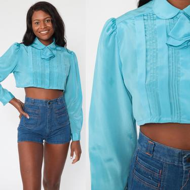 Peter Pan Blouse Shiny Blue Crop Top 80s Shirt Collared Ascot Shirt Button Up Long Puff Sleeve Blouse Vintage 70s Cropped Small Medium by ShopExile