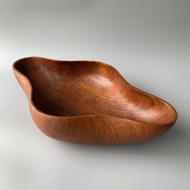 Large Vintage Biomorphic Teak Bowl by HomeAnthology